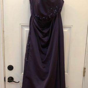 Purple David's Bridal, bridesmaid dress.